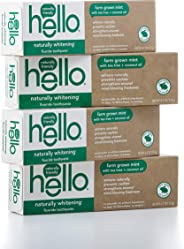 Hello Oral Care Naturally Whitening Fluoride Toothpaste, Vegan & SLS Free, Farm Grown Mint with Tea Tree Oil & Coconut Oil,