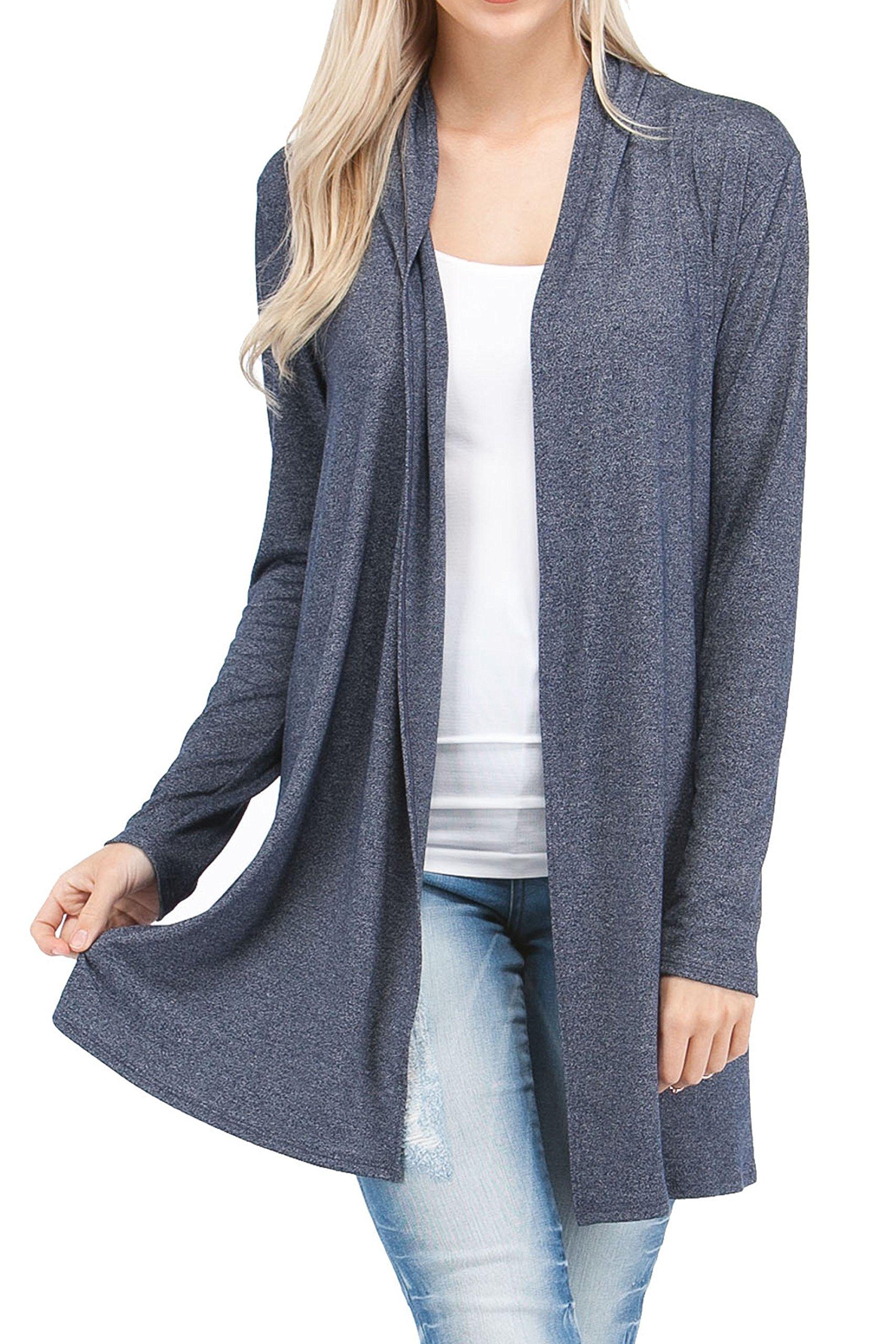 EttelLut Long Open Front Lightweight Soft Knit L/Sleeve long cardigans for women plus size Navy XXL