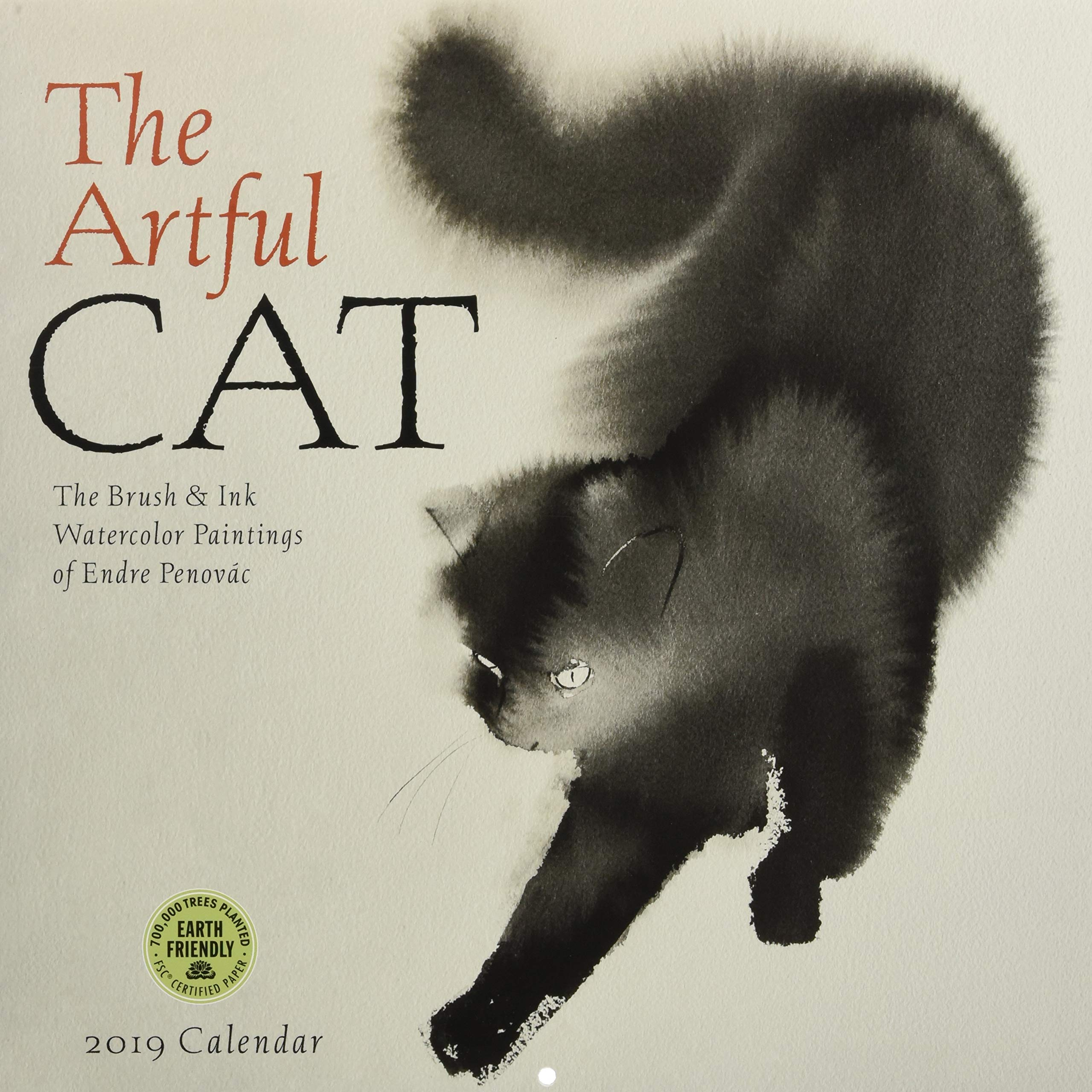 The Artful Cat 2019 Wall Calendar: Brush & Ink Watercolor Paintings by Endre Penovac