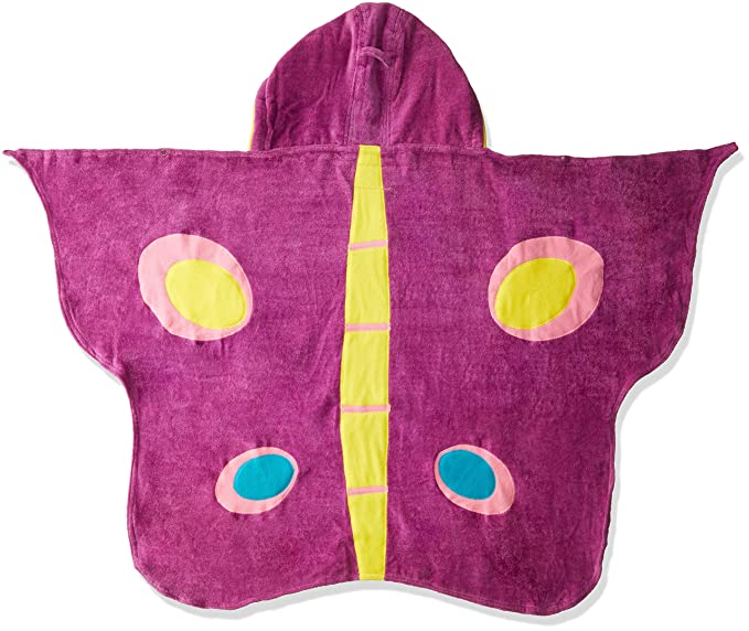 Amazon.com: Kidorable Purple Butterfly All-Cotton Hooded Towel for Girls with Fun Eyes and Antennae, Ages 3-7: Clothing