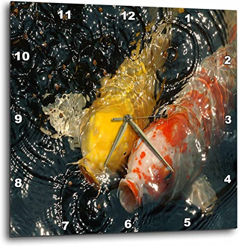 3dRose DPP_62402_2 Pair of Koi with Mouths Open White Wall Clock, 13 by 13-Inch