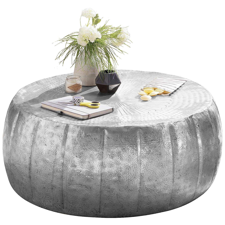FineBuy Couchtisch JAMALI 72x31x72cm Aluminium Beistelltisch Silber orientalisch rund   Flacher Sofatisch Metall   Design Wohnzimmertisch modern   Loungetisch Stubentisch klein