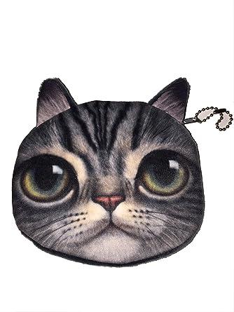Pequeño bolso con diseño negro y gris del gato. Monedero ...