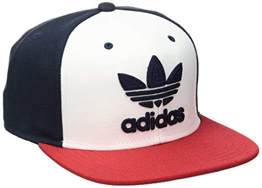 b0ce6ca0eb18c4 adidas Men's Originals Trefoil Chain Snapback Cap, White/Collegiate  Navy/Scarlet, One
