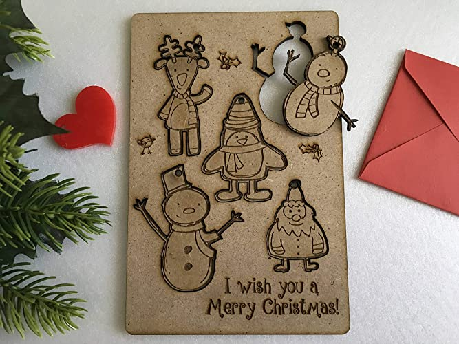 personalized christmas greeting cards for kids laser cut santa claus figurines wooden xmas hanging ornaments puzzle