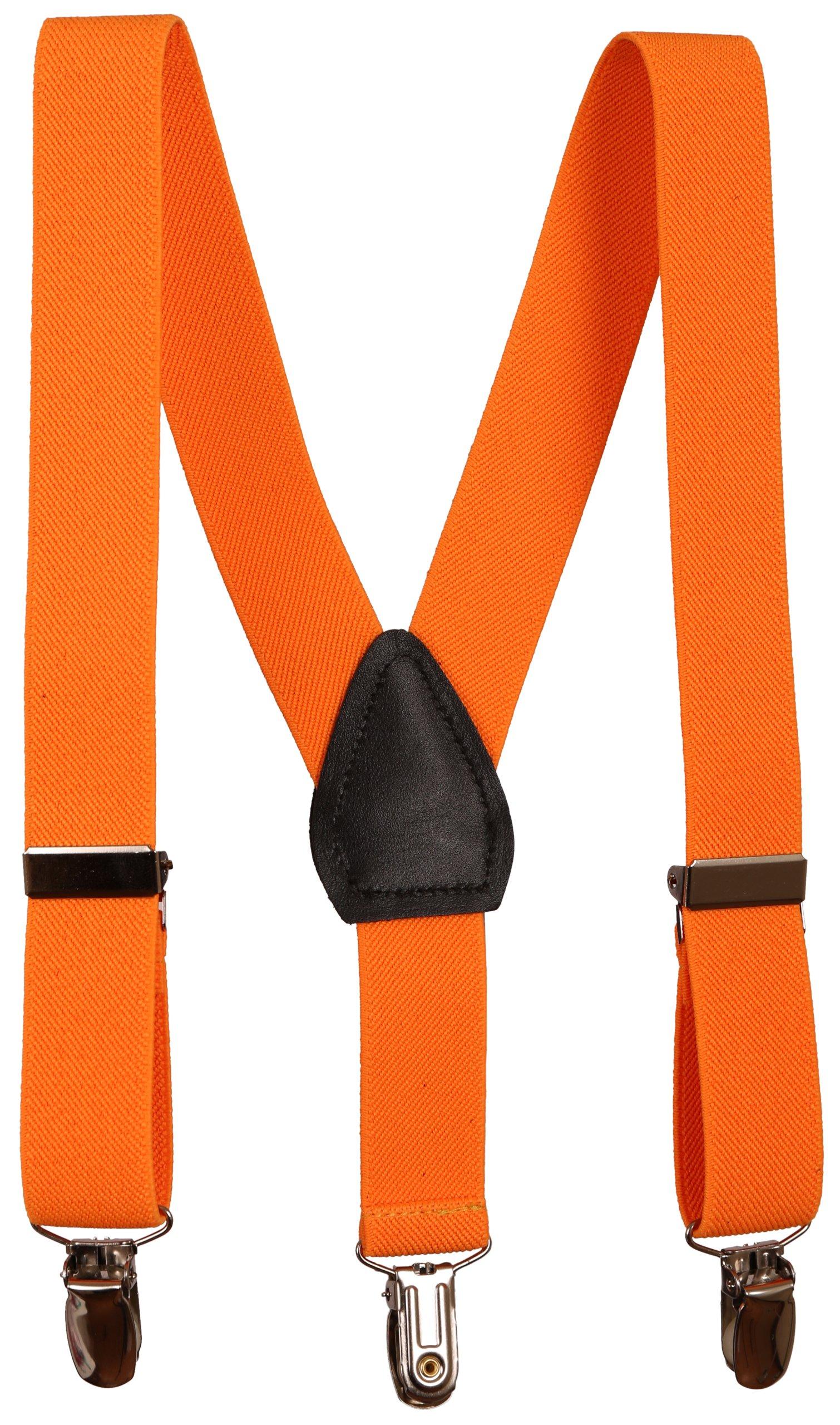 Sportoli Kids and Baby Adjustable Elastic Solid Color Wedding SUspenders - Orange, 26''
