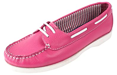 EXPORT SURPLUS Men's Pink Leather Boat Shoes - 8 UK: Buy Online at