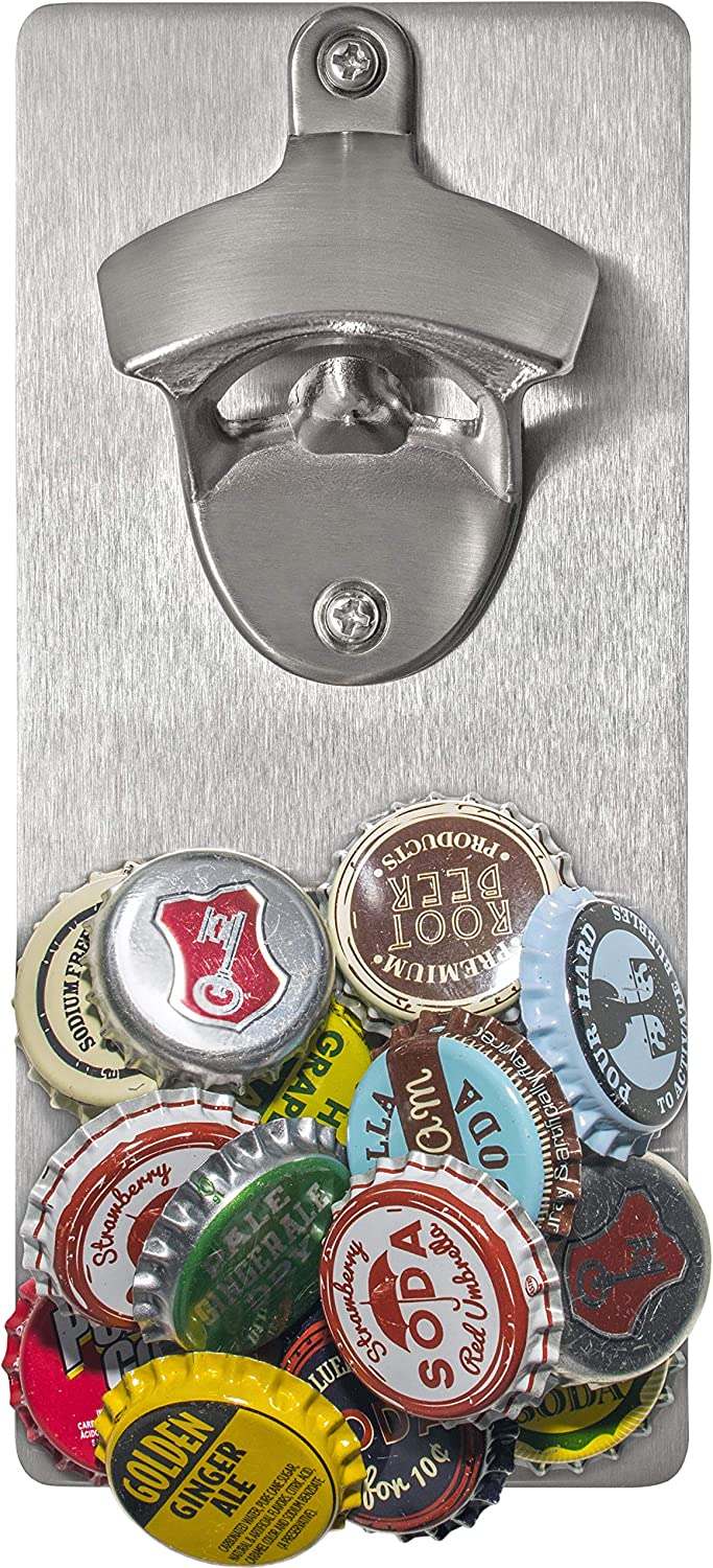 Wall Mounted Beer Bottle Opener with Magnetic Cap Catcher | Novelty Gift | Unique Present for Friends, Men, Women, Housewarming Gifts for New Home, Birthday Gift, Best Gift for Men, Dad Beer Lovers