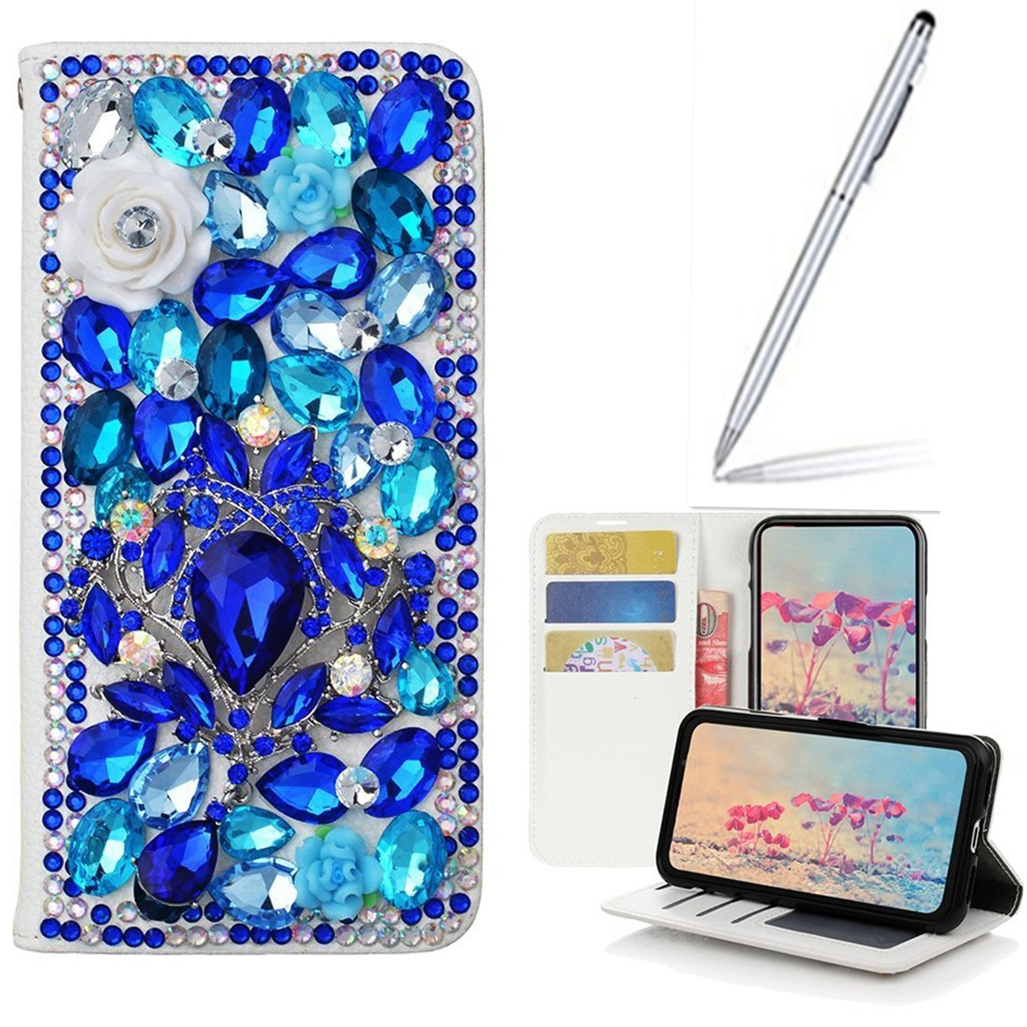 Galaxy I9200 Case with 2 in 1 Stylus and Ballpoint Pen,Yaheeda [Stand Feature] Butterfly Crystal Wallet Case Premium [Bling Luxury] PU Leather Flip Cover [Card Slots] For Samsung Galaxy Mega 6.3 i9200