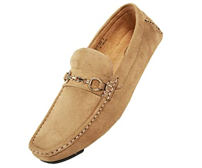 Mens Amali Mens Casual Driving Moccasin Loafer in Cognac Microfiber With Gold Chain Ornament Style Ecker Cognac 215 Free Shipping Size 43