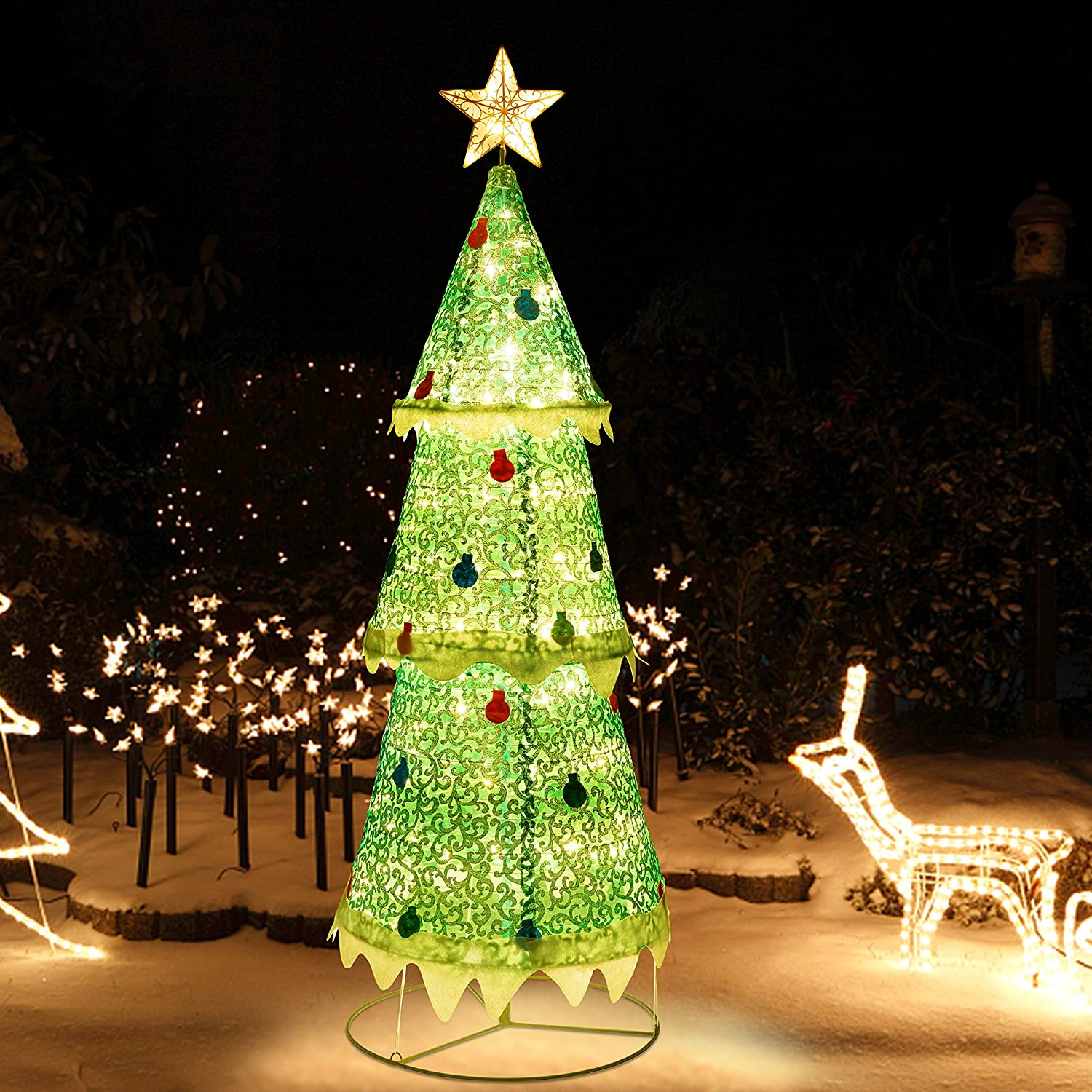 ATDAWN 6ft Pre-Lit Light Up Christmas Tree, Collapsible Christmas Tree Outdoor Decoration, 160 LED Lighted Christmas Tree Yard Decorations