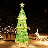 ATDAWN 6ft Pre-Lit Light Up Christmas Tree, Collapsible Christmas Tree Outdoor Decoration, 160 LED Lighted Christmas…