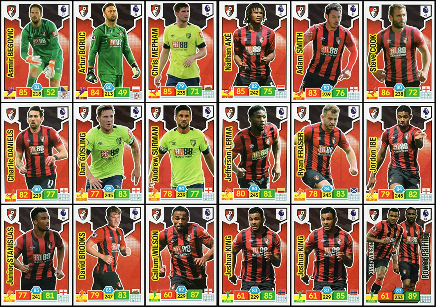 ADRENALYN XL Premier League 2019//20 Bournemouth 18 Card Team Set Trading Cards