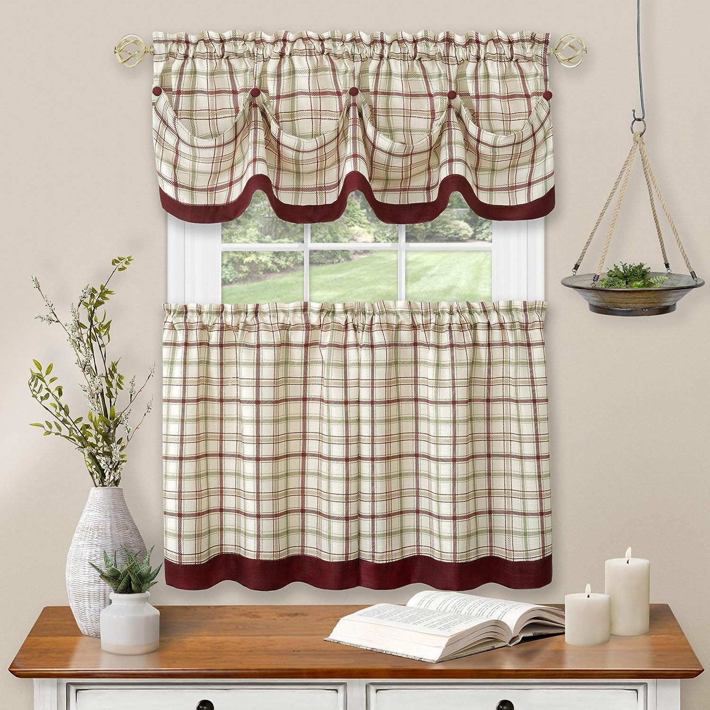 Achim Home Furnishings Tier Pair and Valance Set Tattersall Window Curtain, 58