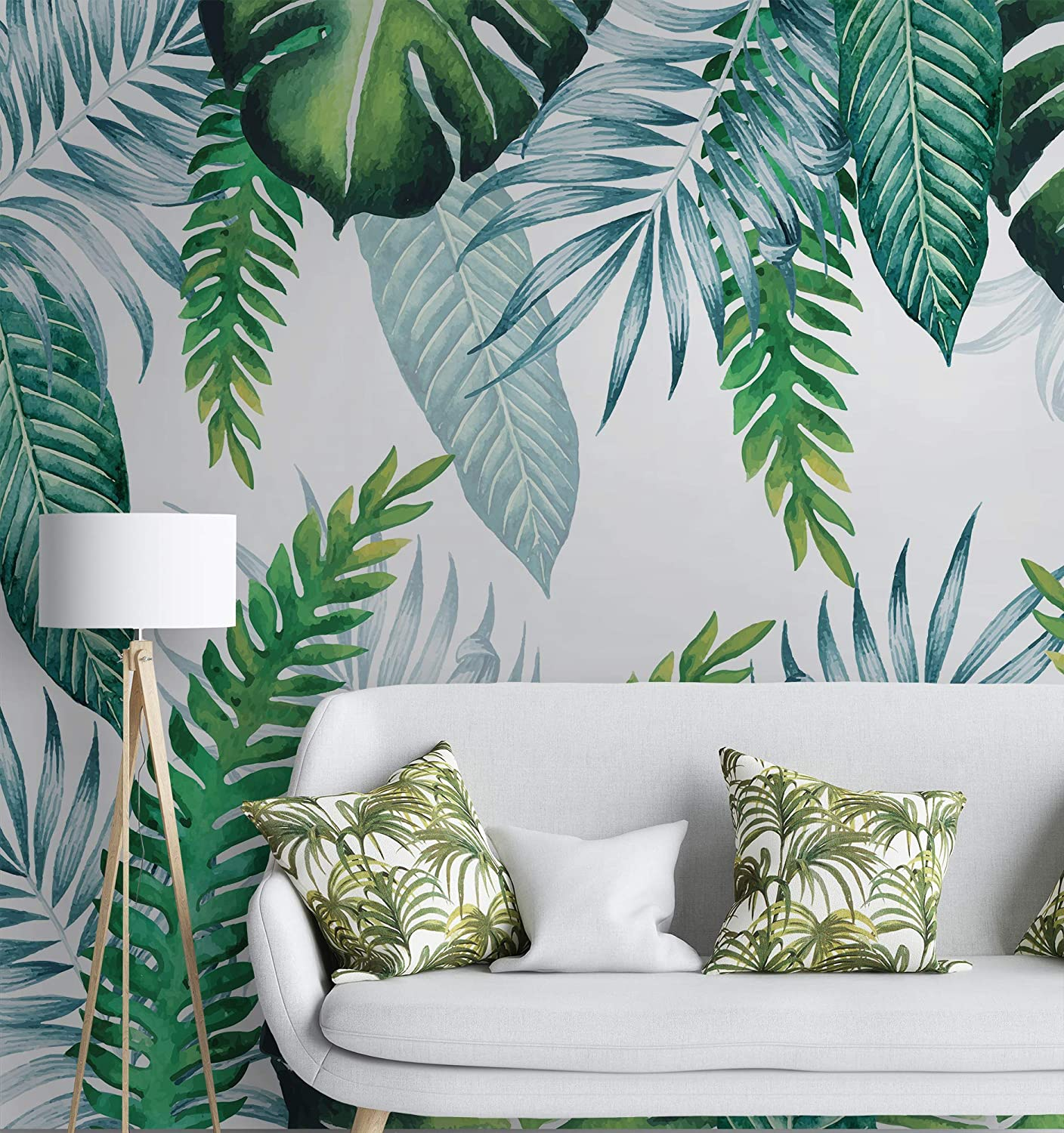 Amazon Com Murwall Leaf Wallpaper Tropical Leaves Wall Murals Watercolor Wall Art Natural Wall Decor Exotic Cafe Design Living Room Bedroom Kitchen Handmade Exclusive designs by cutting edge stencils. murwall leaf wallpaper tropical leaves
