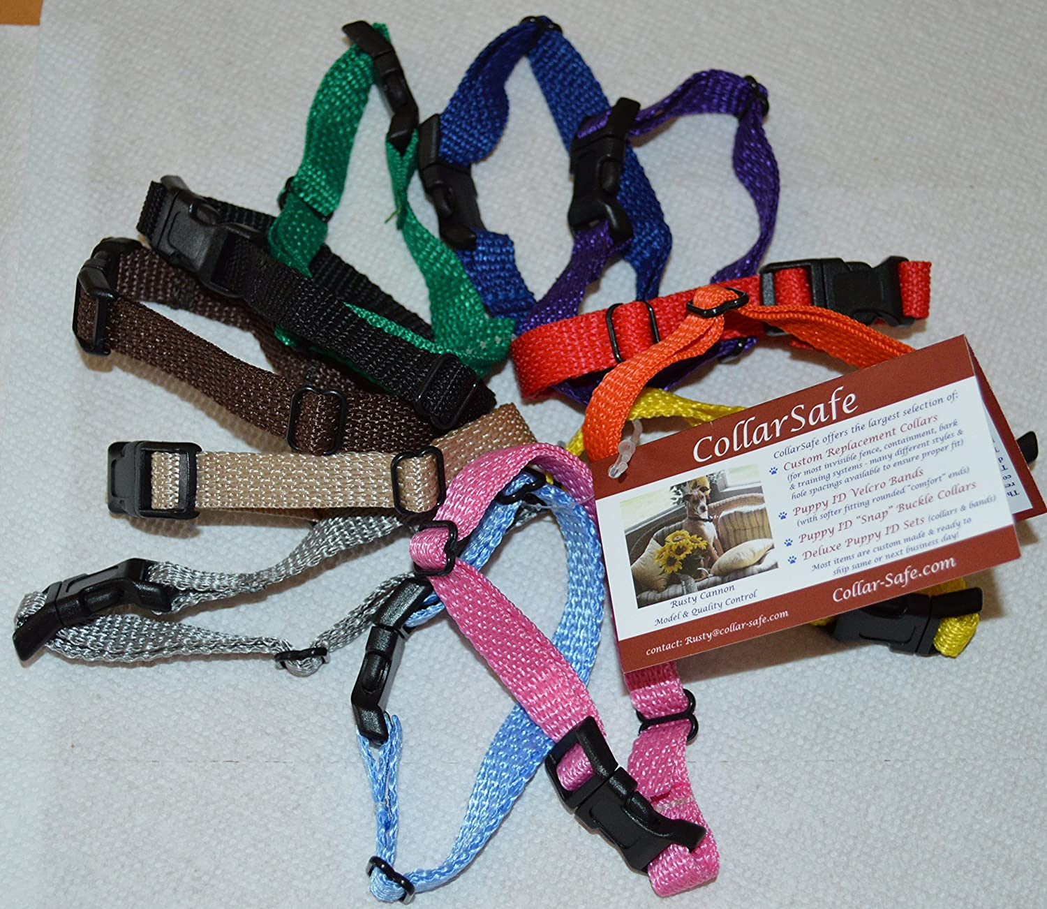 """Soft Nylon Puppy ID /""""Snap/"""" Buckle Collars Litter Bands 24 CollarSafe Set of"""
