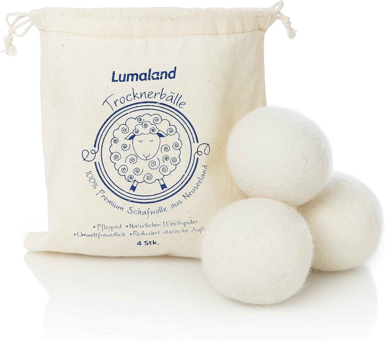 Lumaland Bolas de secado 100% lana de Nueva Zelanda. Suavizante natural. 4 Unidades