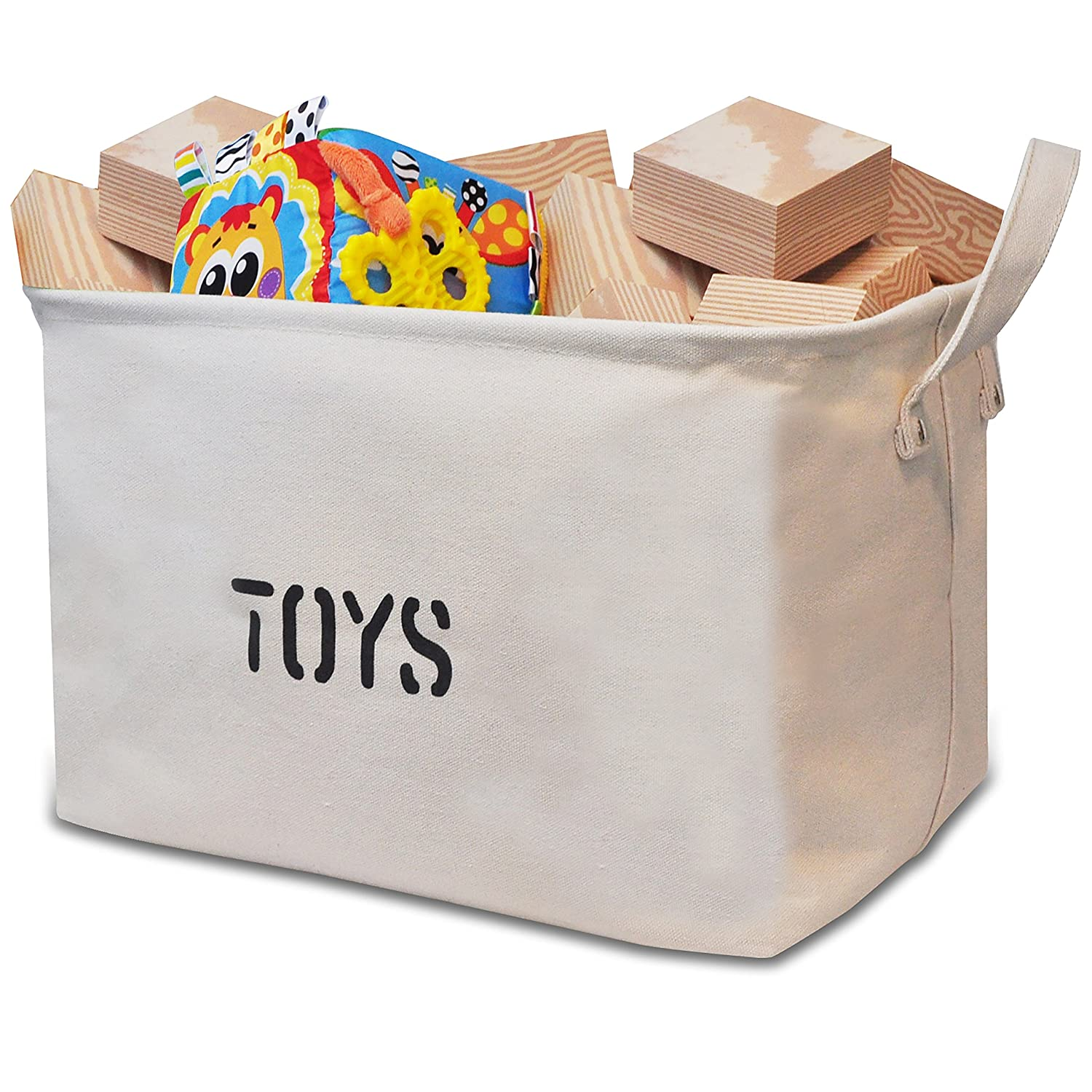 "Canvas TOYS Storage bin 14""Long large Toy Shelf basket organizing"