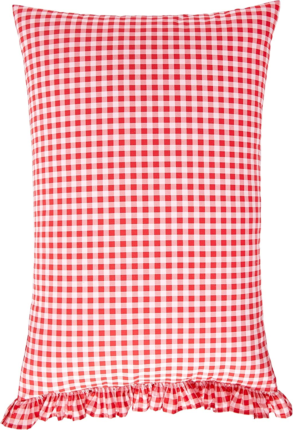 NEW Pioneer Woman Gingham Ruffle KING Sheet Set Coral RED Flat Fitted Pillowcase