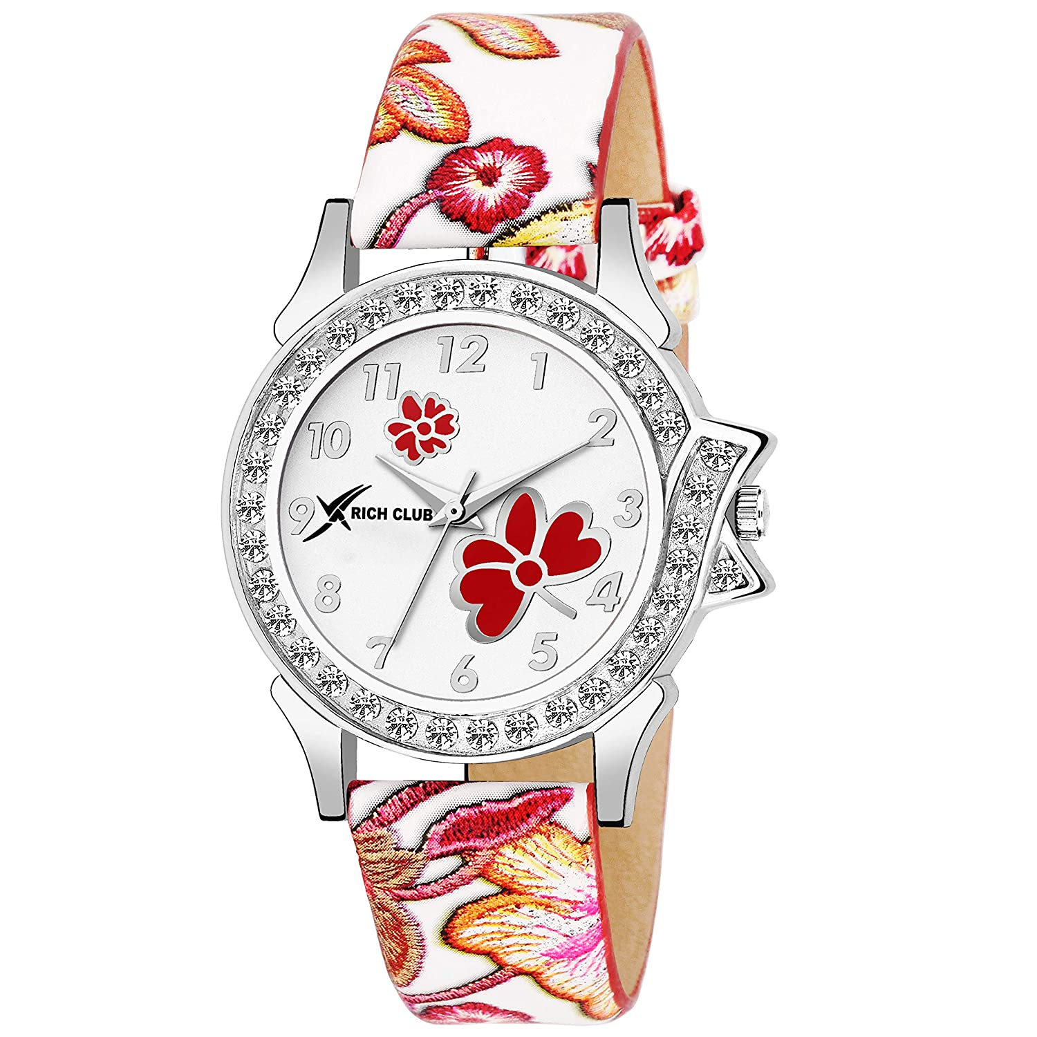 Rich Club Crystal Studded Analogue White Dial Women's Watch