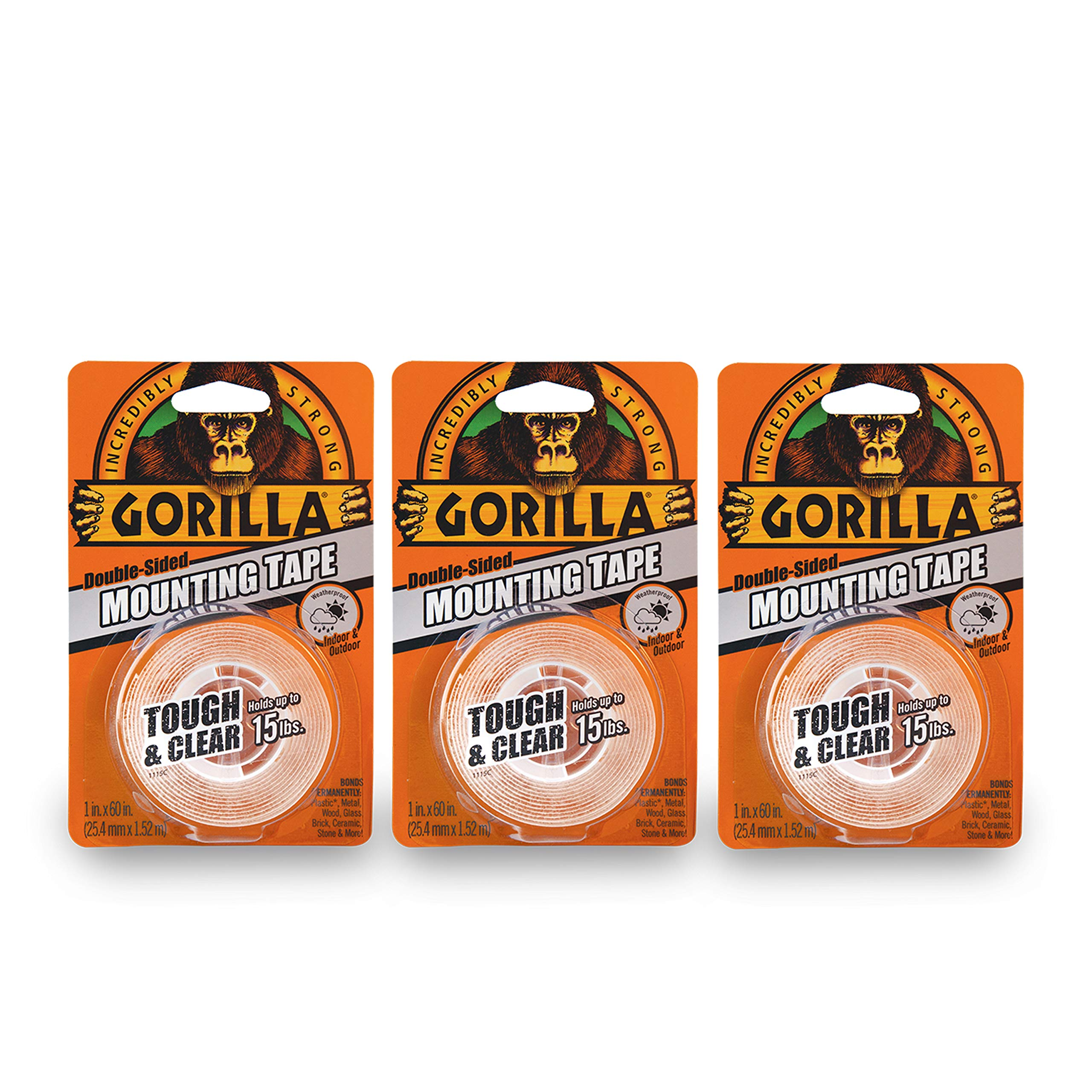 Gorilla Tough & Clear Double Sided Mounting Tape, 1 Inch x 60 Inches, Clear, (Pack of 3)
