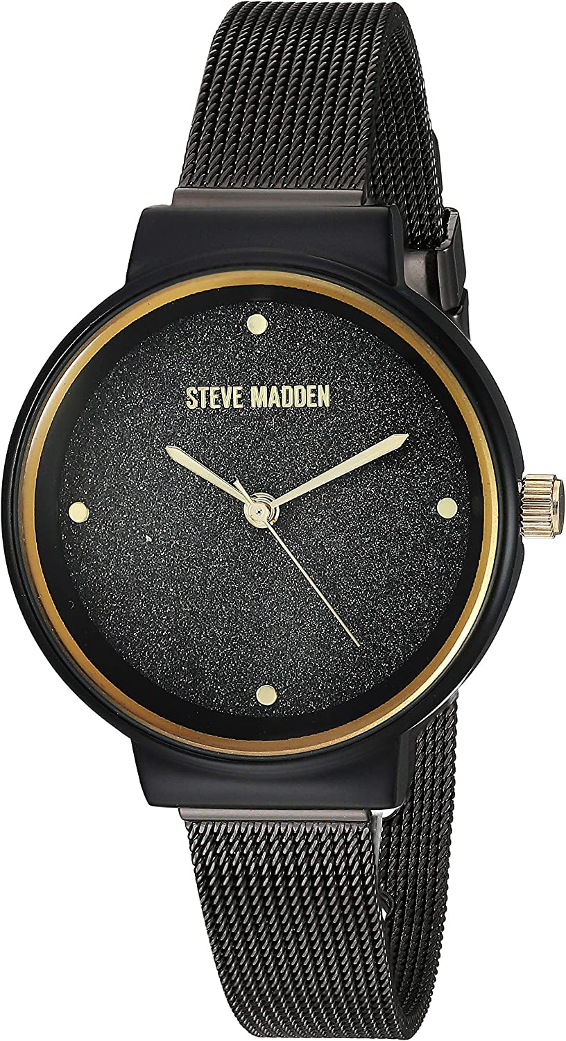 Steve Madden Mesh and Link Women's Watch Set (SMWS052) Black