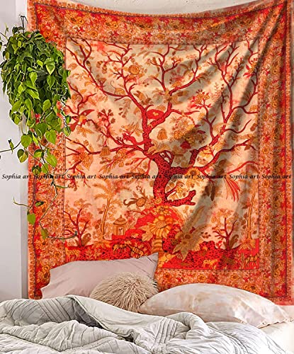Tree of Life Tapestry Wall hangings Hippie Mandala Tapestry Wall Art Collage Dorm Beach Throw Bohemian Tapestry Wall Decor Boho Bedspread Orange