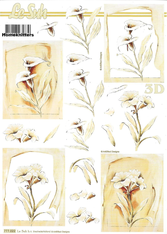 777.022 Le Suh 3D Decoupage Sheet A4 Cardmaking Condolence Flowers