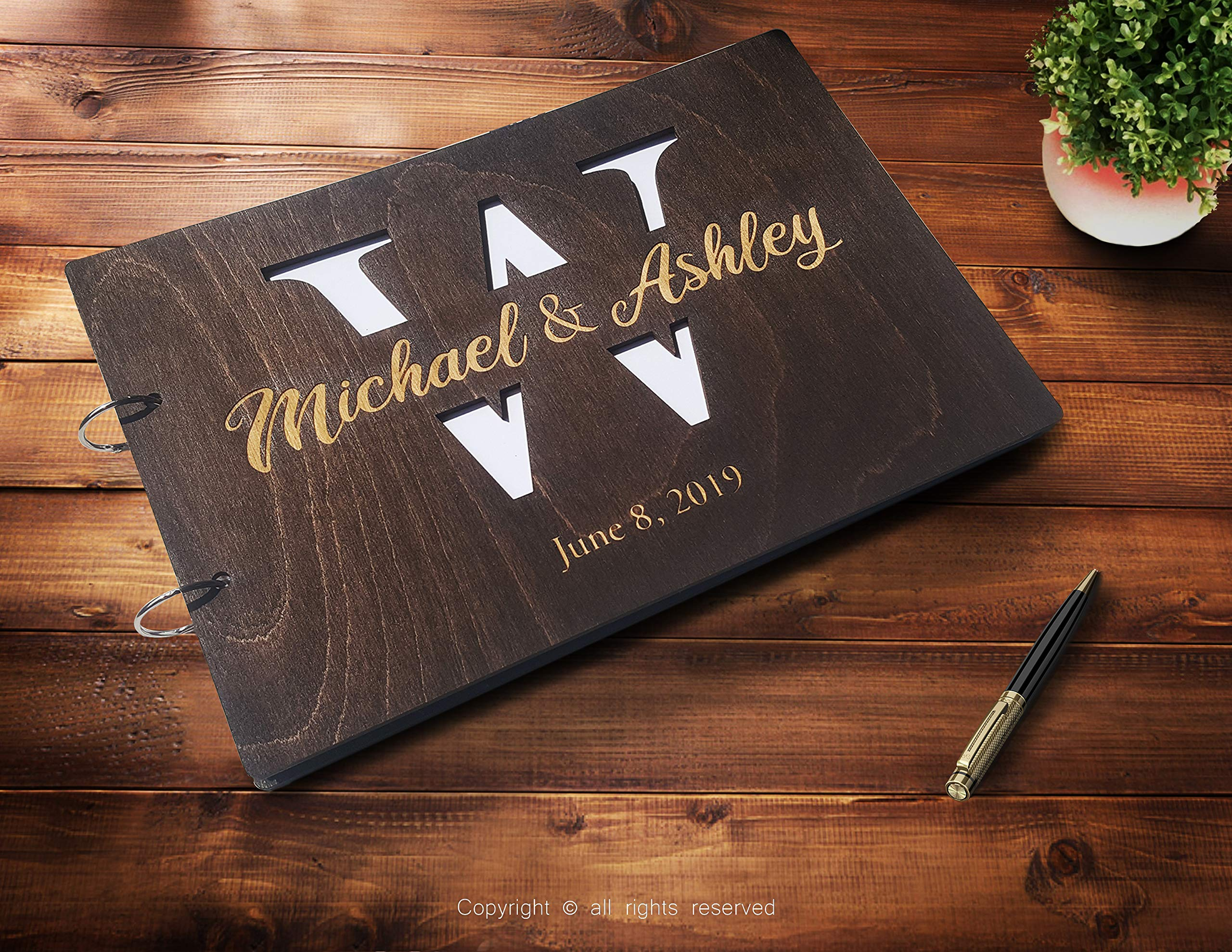 Just Customized Personalized Handmade Mr Mrs Wedding Guest Book for Bride and Groom Wood Alternative Custom Engraved Newlywed Marriage Album (Chocolate Walnut) by Just Customized (Image #2)