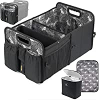 Car Trunk Organizer with Cooler Lid - Front and Back Seat Belt | Bottle, Wipes, Plastic Bag Pockets | Baby Diaper Caddy…