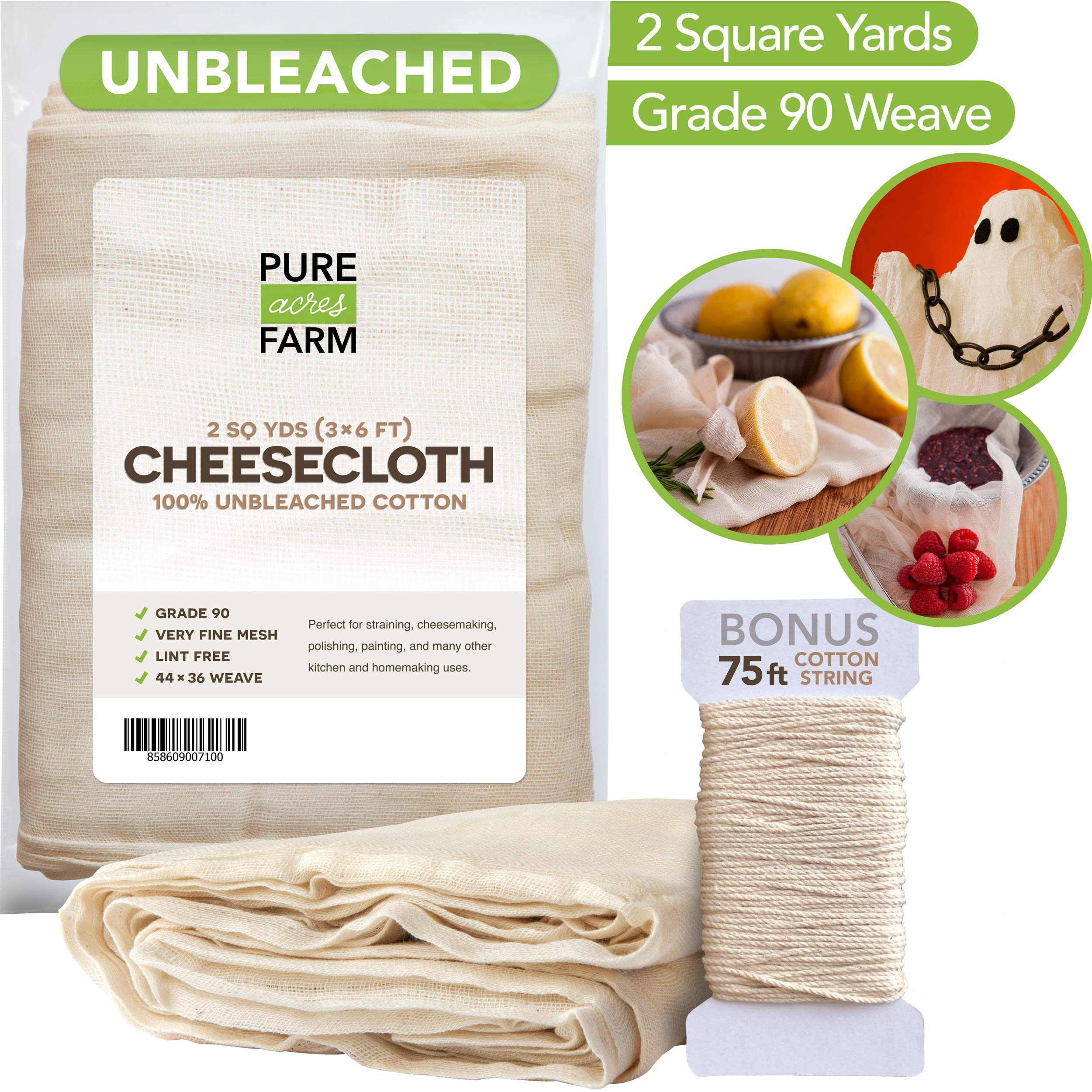 Cheesecloth - 2 Yards - Fine Weave: Grade 90-100% Unbleached Cotton - Filter - Strain - Reusable (Cotton String Included)