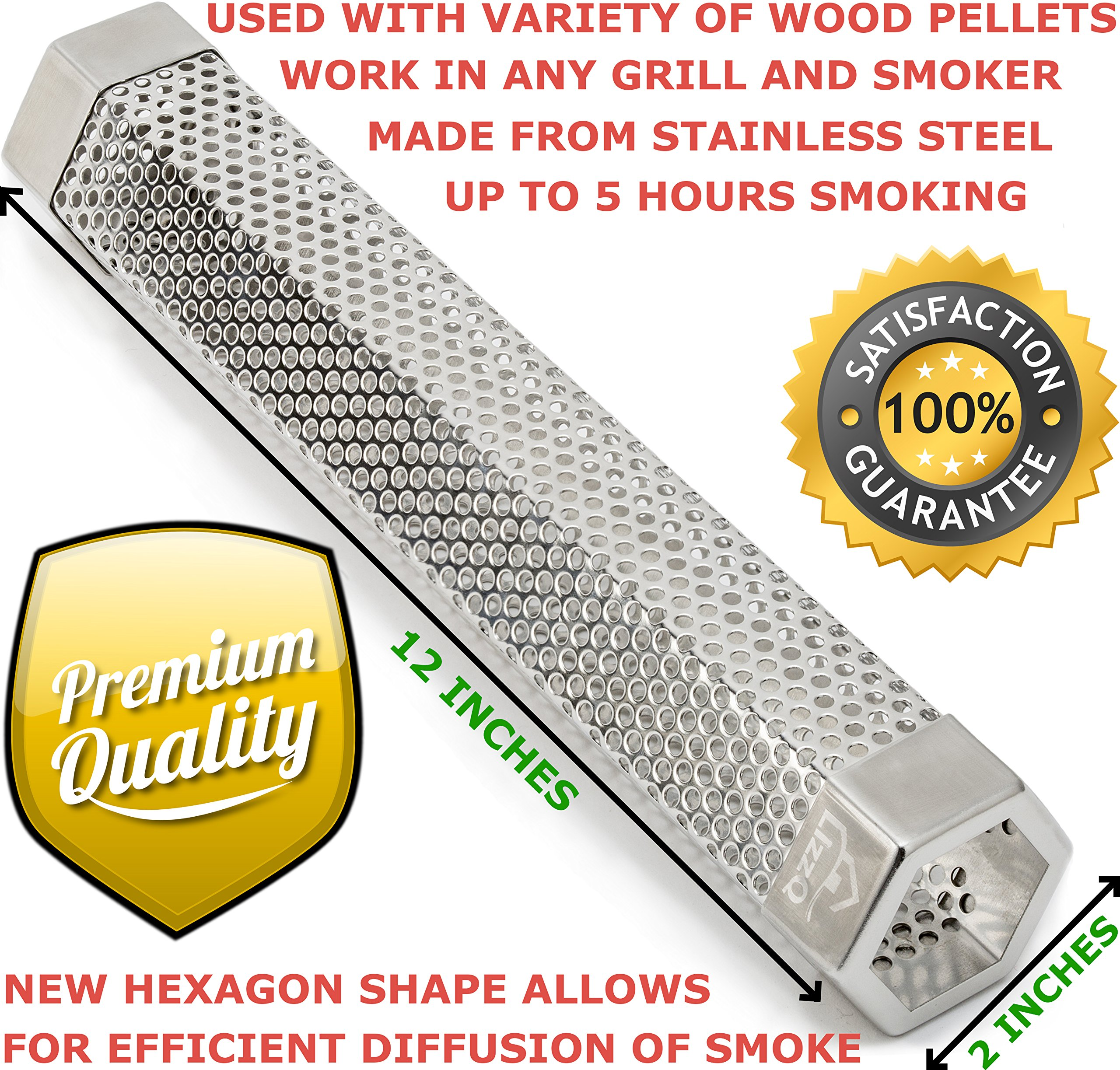 LIZZQ Premium Pellet Smoker Tube 12'' - 5 Hours Billowing Smoke any Grill Smoker, Hot Cold Smoking - Easy, safety tasty smoking - Free eBook Grilling Ideas Recipes by LIZZQ (Image #7)