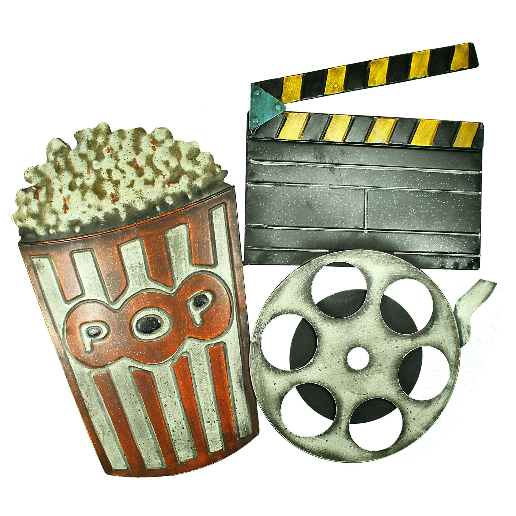 Deco 79 Rustic Movie Reel and Clapperboard Wall décor, 19''H x 24''L, Beautiful by Deco 79