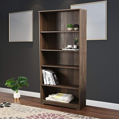 LOKATSE HOME 5-Shelf Bookcase Freestanding Display Wooden Open Storage Bookshelf