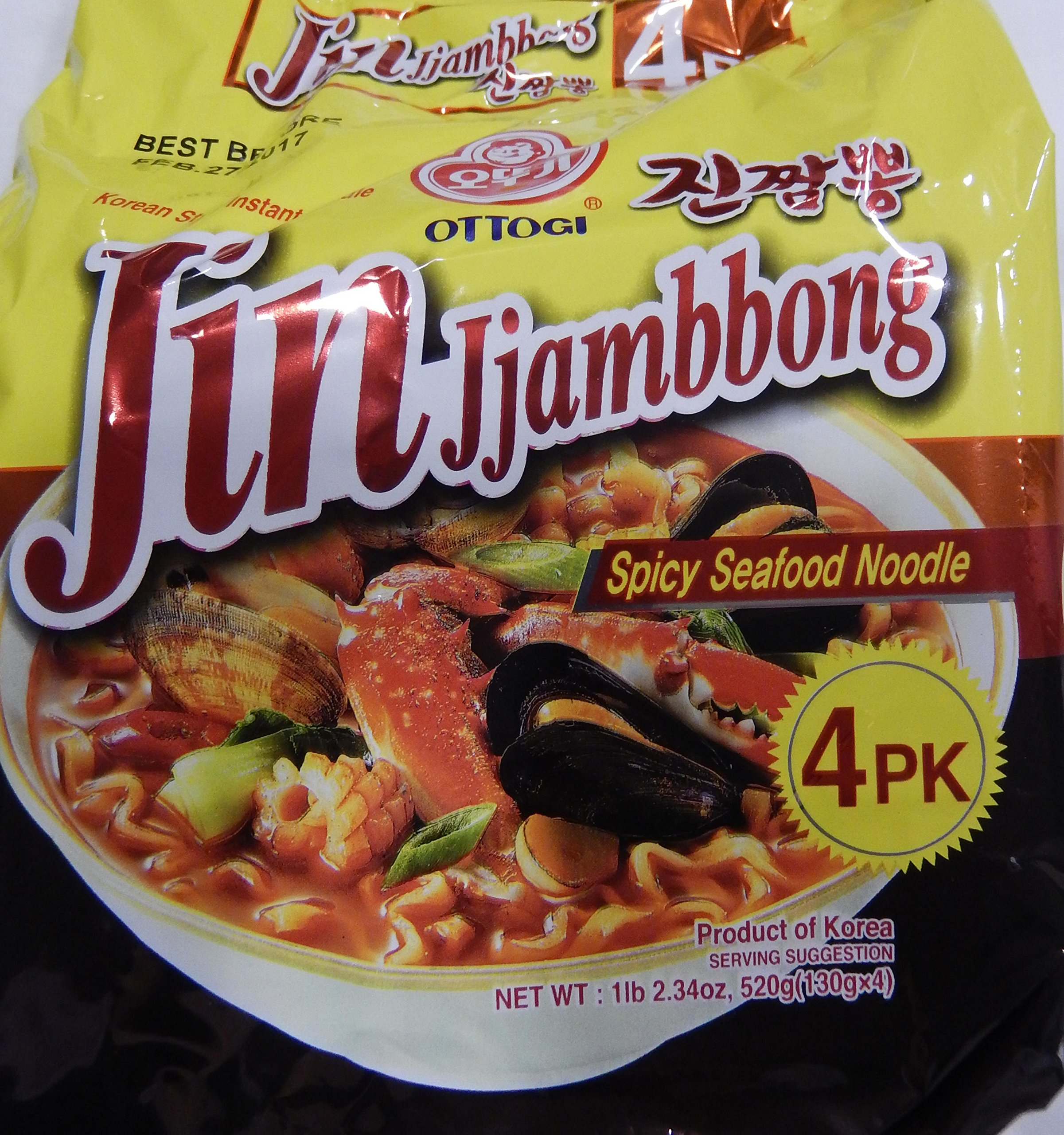 Ottogi Jin Jjambbong Spicy Seafood Noodle, 4.59 Ounce Unit (Pack of 4) by Ottogi