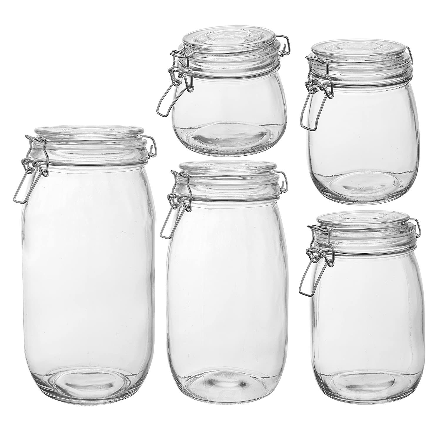 amazon com homequip 5 piece airtight canister set with clip top amazon com homequip 5 piece airtight canister set with clip top lids clear glass kitchen preserving storage jars great dry food pantry containers for