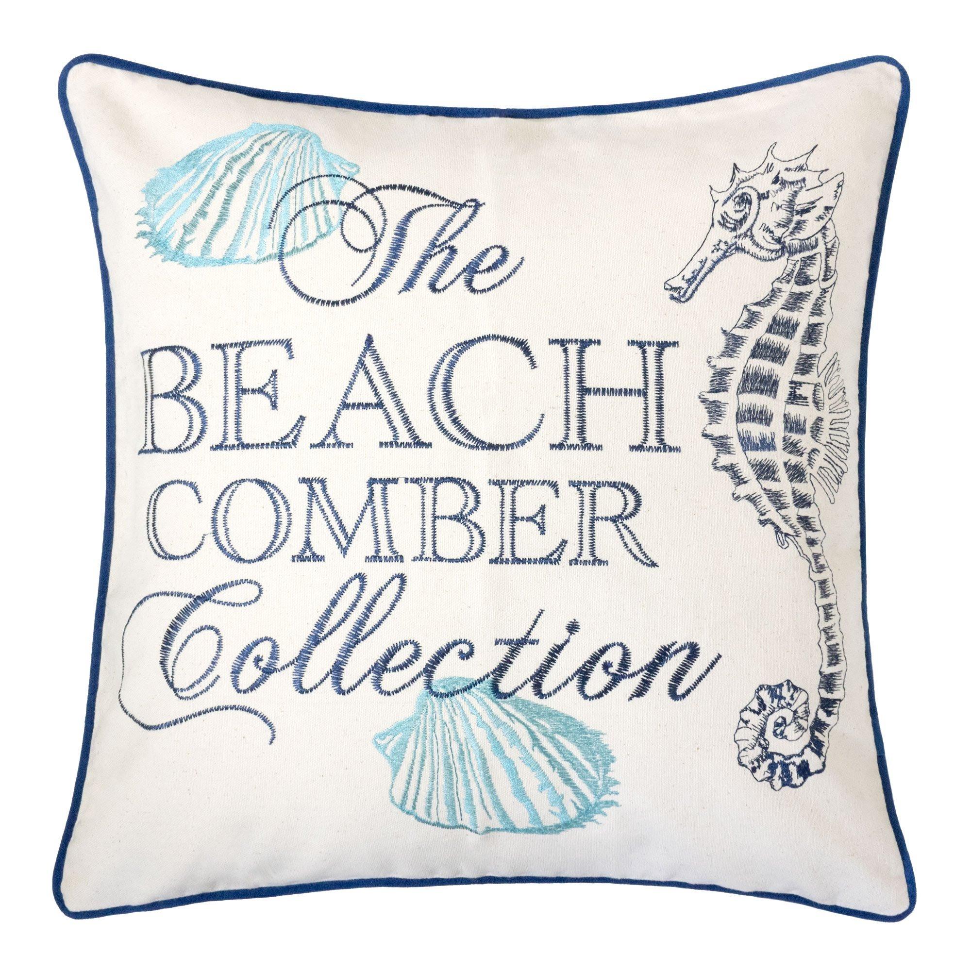 Homey Cozy Embroidery Cotton Canvas Throw Pillow Cover,The Beach Comber Collection Navy Piping Nautical Decorative Pillow Case Coastal Beach Theme Home Decor 20x20,Cover Only