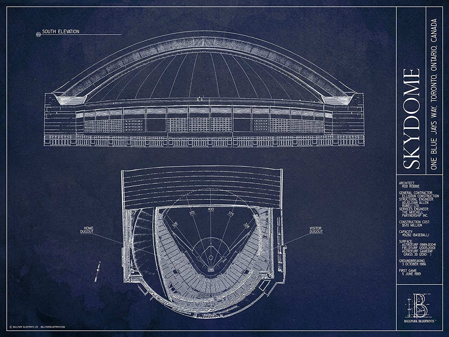 Ballpark Blueprints SkyDome 18x24 Unframed Print