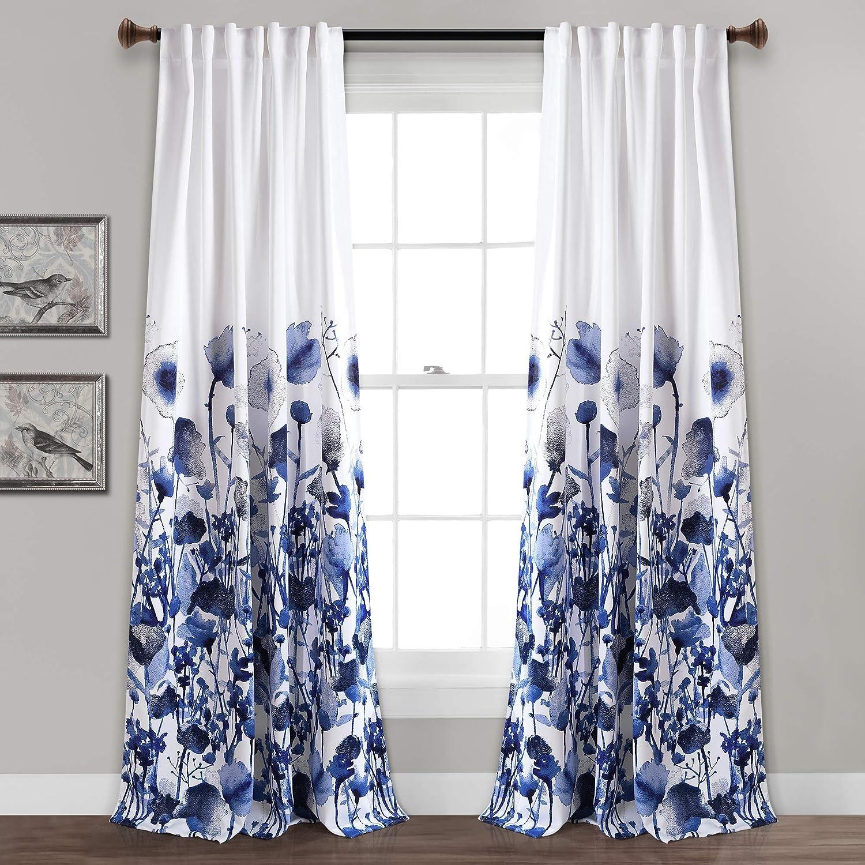 "Lush Decor Zuri Flora Curtains Room Darkening Window Panel Set for Living, Dining, Bedroom (Pair), 84"" x 52"", Navy, 84"" x 52"","