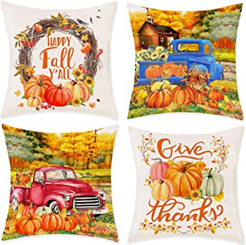 Bonsai Set of 4 Happy Fall Yall Autumn Pumpkin Leaves Couch Pillow Covers