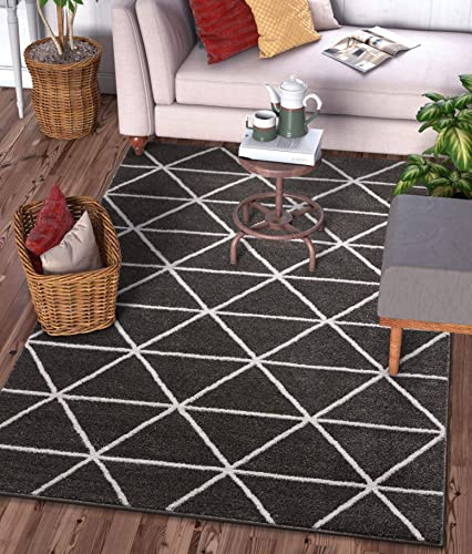 Well Woven Menage Geometric Dark Grey Modern Triangle Tiles Shapes Lines Area Rug 8×11 7'10″ x 9'10″ Carpet