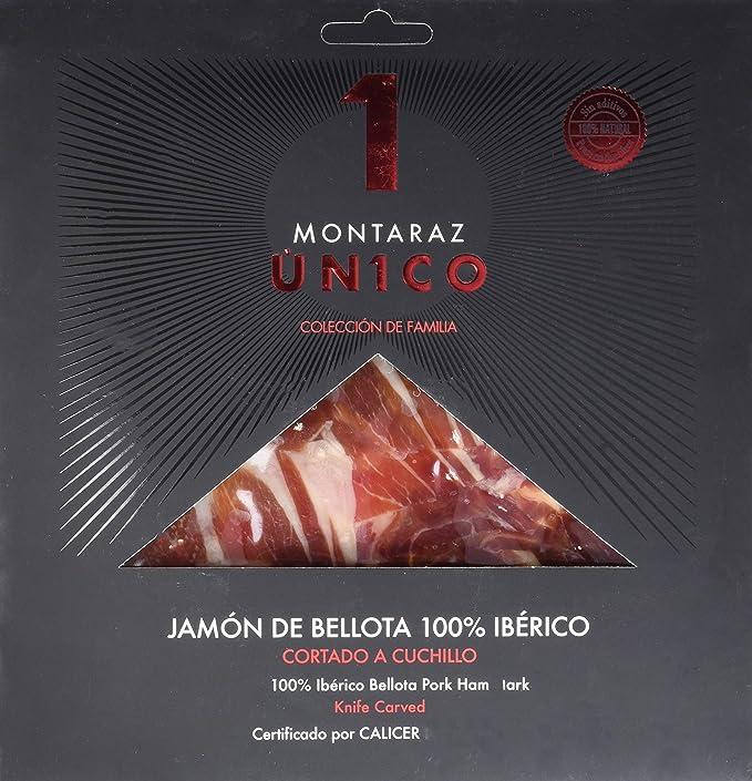 Montaraz Unico, Jamón ibérico 100%, bellota, cortado a cuchillo - 80 gr