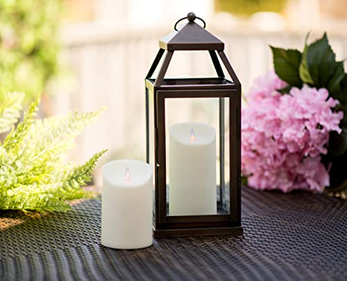 Mystique Flameless Candle, Ivory 5 Pillar for Outdoor Use, Remote Control Ready, Plastic Candle With Realistic Flickering Wick, Battery Operated, By Boston Warehouse