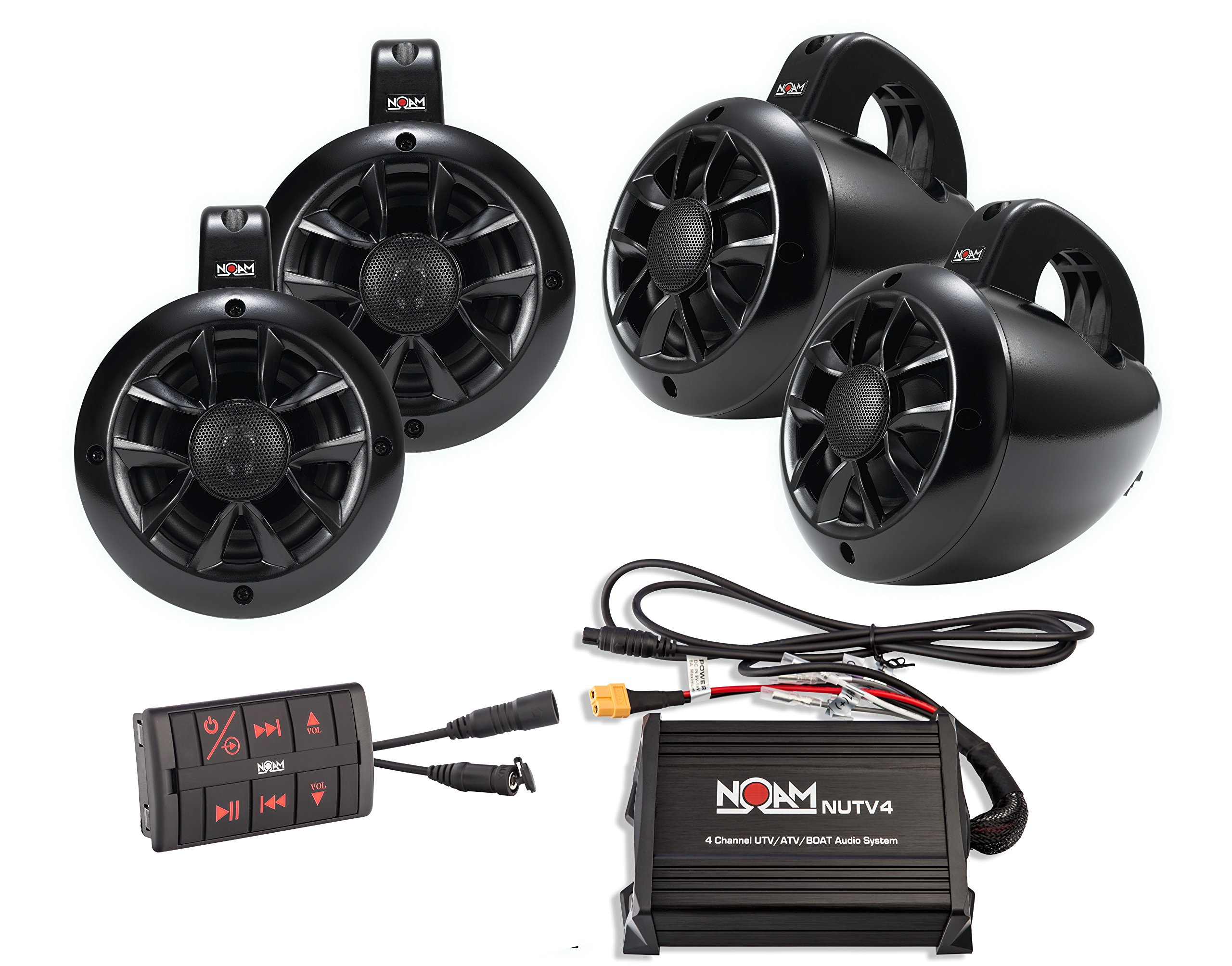 NOAM NUTV4 QUAD - 4 Channels Marine Bluetooth ATV / Golf Cart / UTV Speakers Stereo System by NOAM
