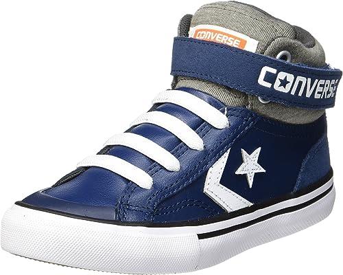 Converse Little Kids Pro Blaze Strap Leather and Suede Hi Top Shoe (NavyStorm WindWhite)