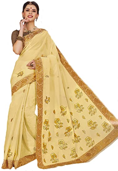 Amazon Com Pure Cotton Embroidery Work Saree By The Holy Mart
