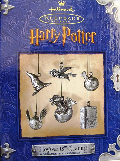 Hallmark Keepsake Ornament Harry Potter Hogwarts Charm 6 Ornaments /Decorations Pewter