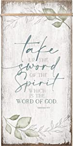 Take up The Sword of The Spirit which is The Word of God Wood Plaque Inspiring Quote 6 3/4 x 13 5/8 - Vertical Frame Wall Hanging Decoration   Ephesians 6:17   Christian Religious Home Decor Saying