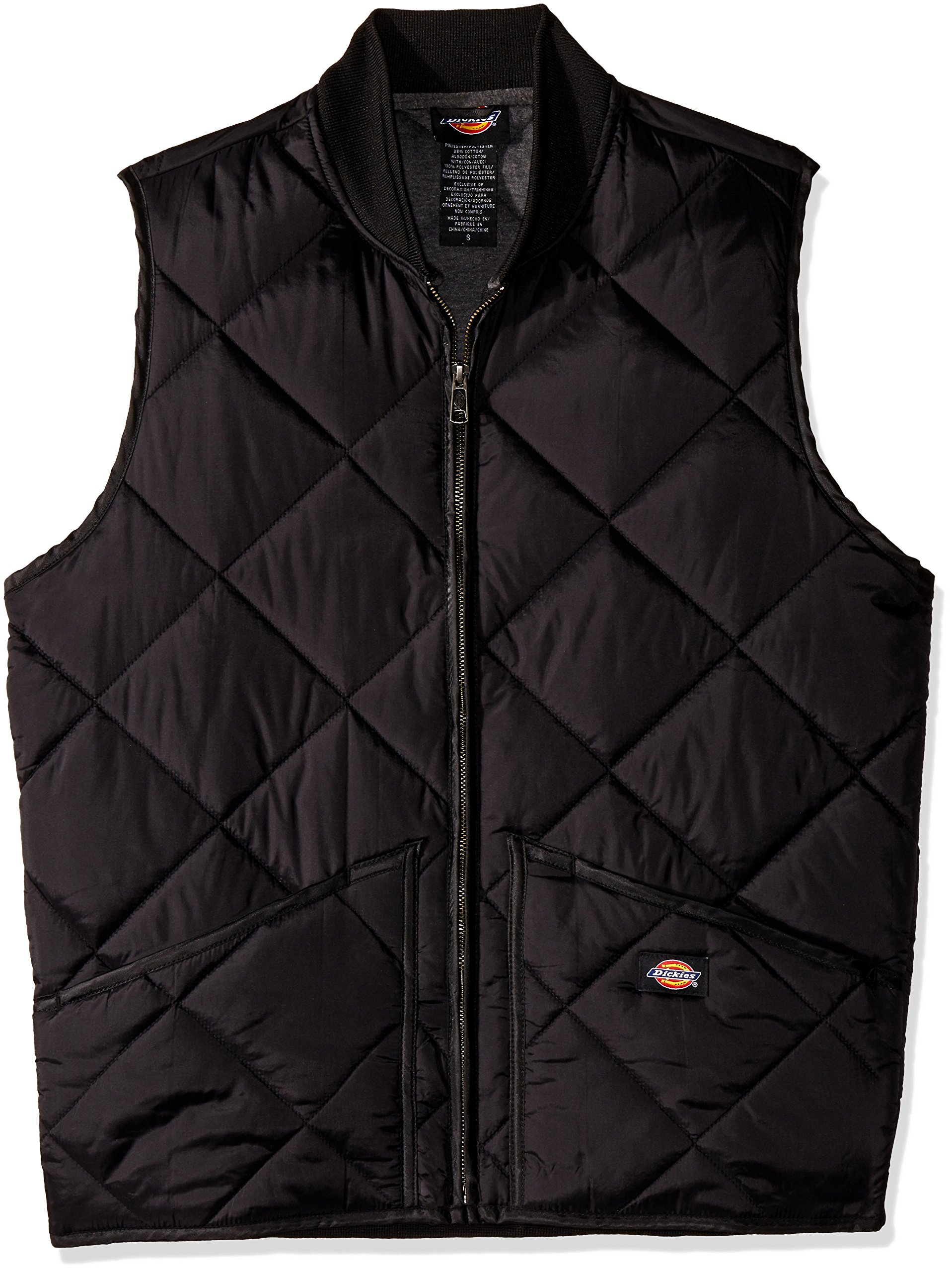 Dickies Men's Diamond Quilted Water Resistant Vest, Black, S by Dickies