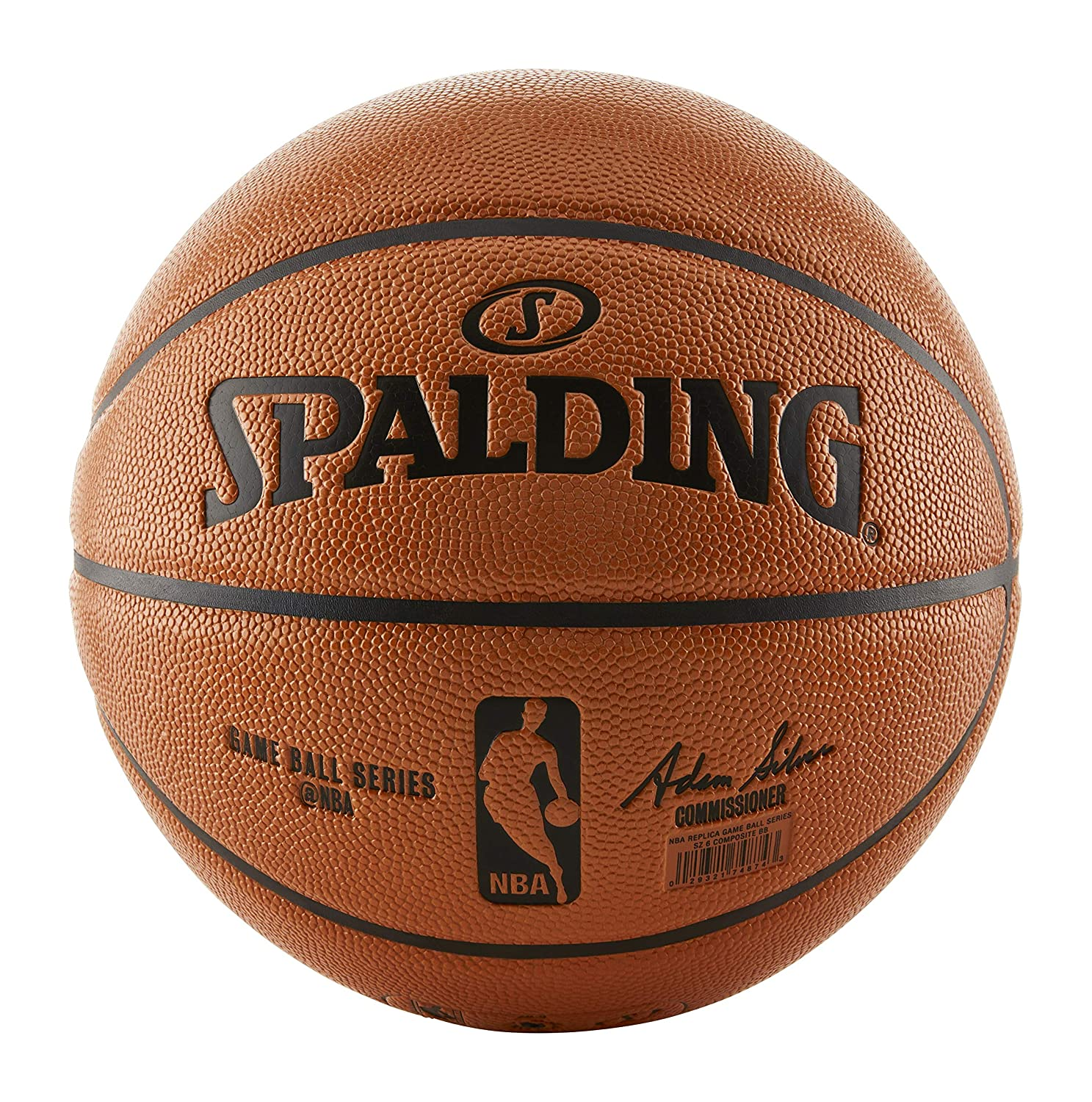 huge discount 28e09 862fa Amazon.com   Spalding NBA Indoor Outdoor Intermediate Size Replica Game Ball  with Pump   Sports   Outdoors